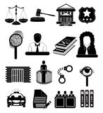 Law court judge Justice icons set Royalty Free Stock Photography