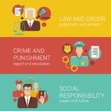 Law court judge policeman religion social flat infographics. Law attorney lawyer court judge sheriff policeman religion bible social responsibility flat web Stock Illustration
