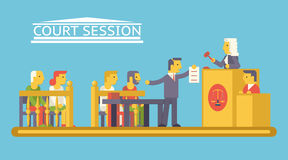 Law Court Justice Scene with Characters Defendant. Ludge Lawyer Advocate Trendy Modern Flat Design Template Vector Illustration Royalty Free Stock Photos