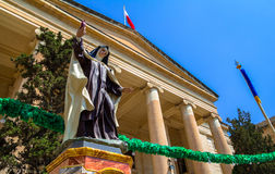 Law Court Nun Statue. Nun statue in front of malta law courts in the republic street in Valletta Stock Photos