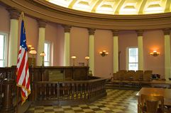Law courtroom. A view of a historic law courtroom restored as it looked in the early 1900s.  This courtroom is in the Old Court House in St. Louis where the Royalty Free Stock Image