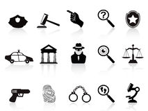 Law and crime icons set. Isolated law and crime icons set on white background Stock Photography