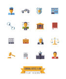 Law and criminal justice flat design isolated icons set Royalty Free Stock Images