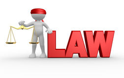 Law. 3d people - man, person with weight scale. Symbol of justice. Law Royalty Free Stock Image