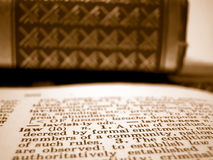 Law definition. Shallow depth of field description of law and law textbooks Stock Photography
