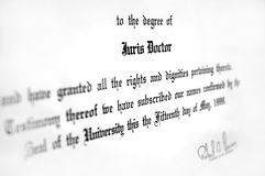 Law Degree. Close up of Juris Doctorate law degree certificate Royalty Free Stock Photography