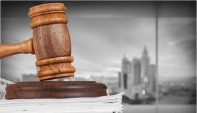 Law. Document legal system legislation stack paper gavel stock images