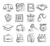 Law Doodle Icons. On white background Royalty Free Stock Images
