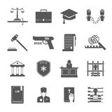 Law Enforcement Icons Set. Law enforcement and court black white icons set with lawyers police and criminal flat  vector illustration Stock Photo