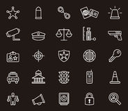 Law enforcement icons. Various police or law enforcement white outline icons on black background Royalty Free Stock Photo