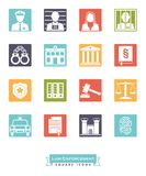 Law enforcement square color icon set. Collection of law enforcement icons. Criminal justice symbols, negative in coloed squares Stock Photo