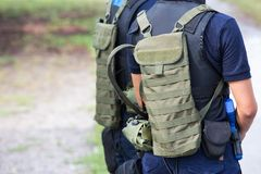 Law enforcement with tactical equipment team in field training c Royalty Free Stock Images