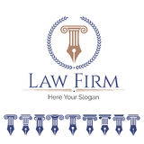 Law firm and column set. Corporate Identity Logo law firm, Law Office, Lawyer services, Vector logo template. Set antique columns. Can be used as logo for law Stock Images