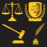 Law firm justice scale and gavelLaw firm scales of justice and hammer inkwell pen shield jurisprudence. Vector image vector illustration