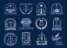 Law firm, legal center and lawyer office badge set. Justice heraldic symbols with scales, sword, law book and judge mallet, framed by laurel wreath and shield Stock Photos