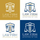 Law firm logo Column. Law office logo in the form of shield with greece column and scales. The judge, Law firm logo template, lawyer set of vintage labels Stock Photos