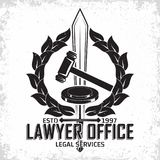 Law firm logo. Design, emblem of lawyer agency or notary, vintage court logo or typography emblem, Vector Royalty Free Stock Photo