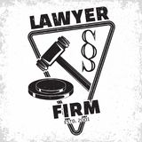 Law firm logo. Design, emblem of lawyer agency or notary, vintage court logo or typography emblem, Vector Stock Photography