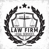 Law firm logo. Design, emblem of lawyer agency or notary, vintage court logo or typography emblem, Vector Royalty Free Stock Image