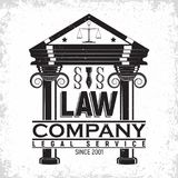 Law firm logo. Design, emblem of lawyer agency or notary, vintage court logo or typography emblem, Vector Stock Image
