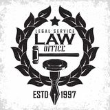 Law firm logo. Design, emblem of lawyer agency or notary, vintage court logo or typography emblem, Vector Stock Photo