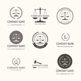 Law firm logo template. set of vintage labels. Law firm logo template. Vector set of vintage labels, logotype templates and monogram Stock Photo