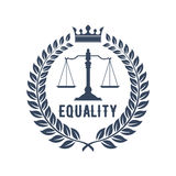 Law firm symbol with scales of justice. Law firm badge. Scales of justice gray silhouette, supplemented by laurel wreath frame with crown and caption Equality Royalty Free Stock Photo