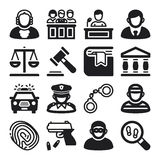 Law flat icons. Black. Set of black flat icons about law Stock Image