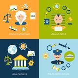 Law flat icons set Stock Photography