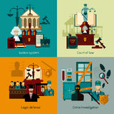 Law Flat Set. Law design concept set with legal defence flat icons  vector illustration Royalty Free Stock Image