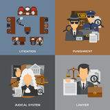 Law Flat Set Stock Photo