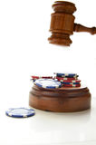 Law gamble. Judges law gavel and poker chips, on white Royalty Free Stock Photo