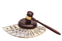 Law gavel on  American money Royalty Free Stock Image