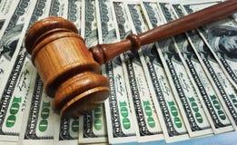 Law gavel. On cash money Royalty Free Stock Image