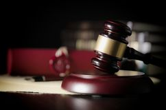 Law gavel in courtroom. Legal system. royalty free stock photography