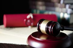 Law gavel in courtroom. Legal system. stock photo