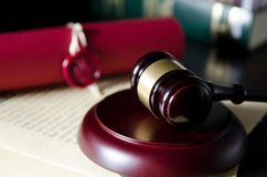 Law gavel in courtroom. Legal system. royalty free stock photos