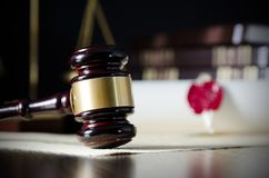 Law gavel in courtroom. Legal system. royalty free stock image