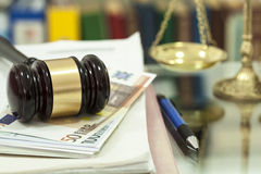Law gavel on money. Close up Royalty Free Stock Photo