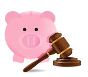 Law gavel and piggy bank illustration Royalty Free Stock Photography