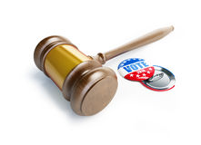 Law gavel vote election badge button for 2016 Stock Photo