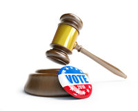 Law gavel vote election badge button for 2016. 3d Illustrations royalty free illustration