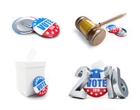 Law gavel vote election badge button for 2016. Law gavel vote election badge button for 2016 . 3d Illustrations on a white background royalty free illustration