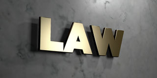 Law - Gold sign mounted on glossy marble wall  - 3D rendered royalty free stock illustration. This image can be used for an online website banner ad or a print Royalty Free Stock Image