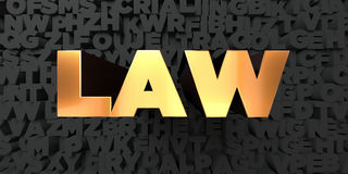 Law - Gold text on black background - 3D rendered royalty free stock picture Royalty Free Stock Images