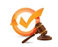 law hammer check mark cycle Stock Photos
