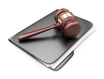 LAW hammer on computer folder. 3D Icon  Stock Image