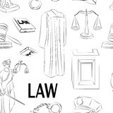 Law hand drawn pattern. Law hand drawn pattern- Lawbook, court building, magnifier, gavel, scales, paper scroll, briefcase and other Royalty Free Stock Image