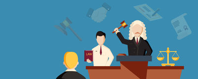 Law horizontal banner with lawyer. Flat elements isolated vector illustration Stock Photo
