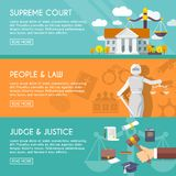 Law horizontal banners flat. Supreme court judge and blindfolded justice with sword and scales people law flat horizontal banners vector illustration royalty free illustration